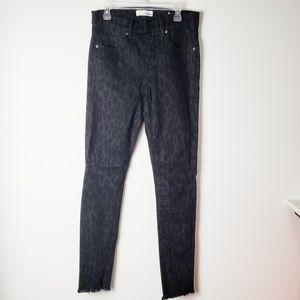 Ann Taylor LOFT Black Printed Med Rise Ankle Jeans